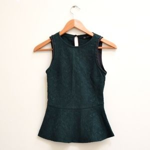 Zara Trafaluc Green Peplum Top Extra Small